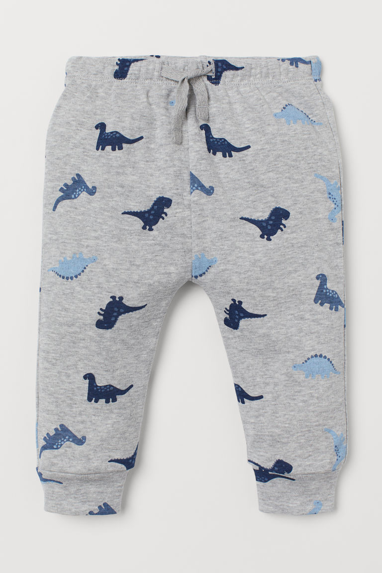 Cotton jersey trousers - Light grey marl/Dinosaurs - Kids | H&M IN