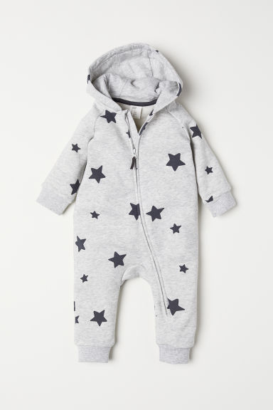 Sweatshirt all-in-one suit - Light grey marl/Stars - Kids | H&M