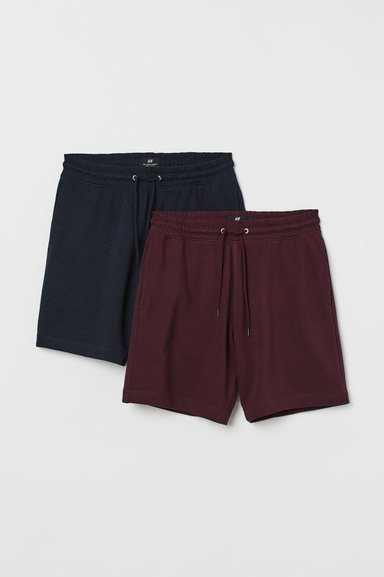 2-pack sweatshorts Regular fit - Mörkblå/Vinröd - HERR | H&M SE