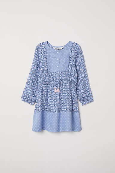 Patterned dress - Pigeon blue/Patterned - Kids | H&M GB