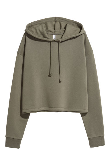 Cropped hooded top - Khaki green -  | H&M