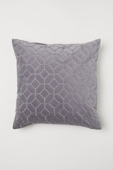 Quilted velvet cushion cover - Grey - Home All | H&M CN