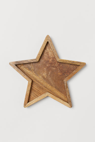 Star-shaped wooden tray - Beige - Home All | H&M CN
