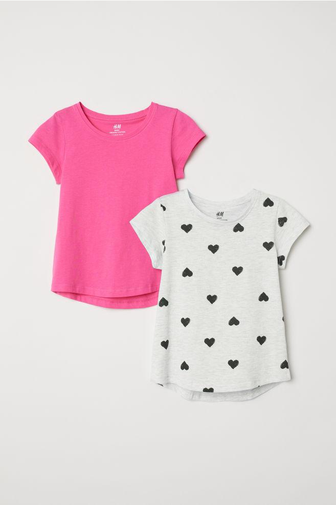 cd626b22b3df 2-pack T-shirts - Grey marl/Hearts - Kids | H&M 1