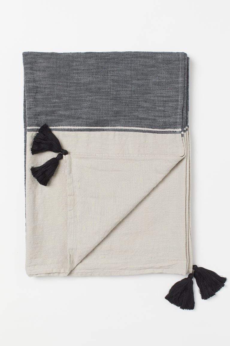 Cotton-blend bedspread - Anthracite grey/Beige - Home All | H&M CN