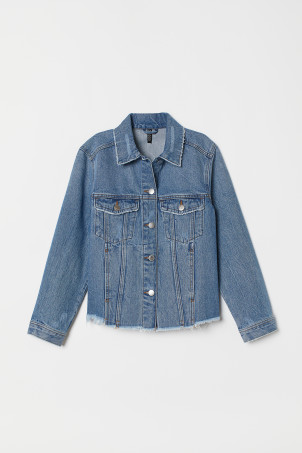 Frayed-detail denim jacket