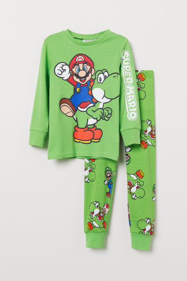 Jersey pyjamas - Neon green/Super Mario - Kids | H&M