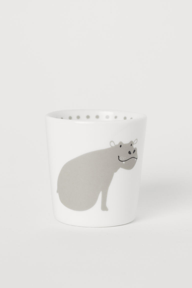 Animal motif mug - White/Hippopotamus - Home All | H&M CN