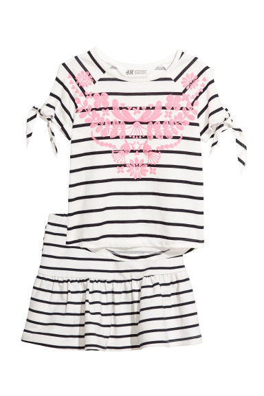 Top and skirt - White/Blue striped - Kids | H&M CN