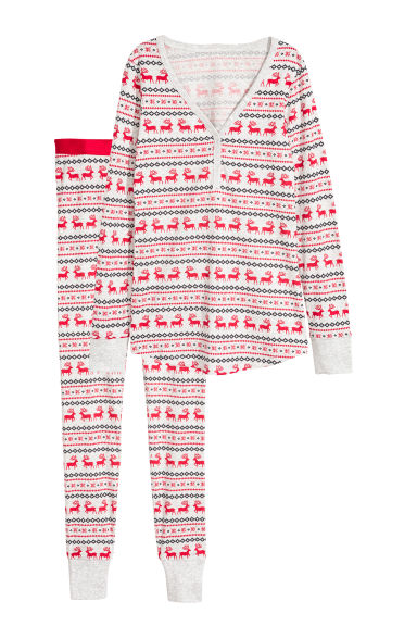 Jersey pyjamas - Light grey/Reindeer - Ladies | H&M GB
