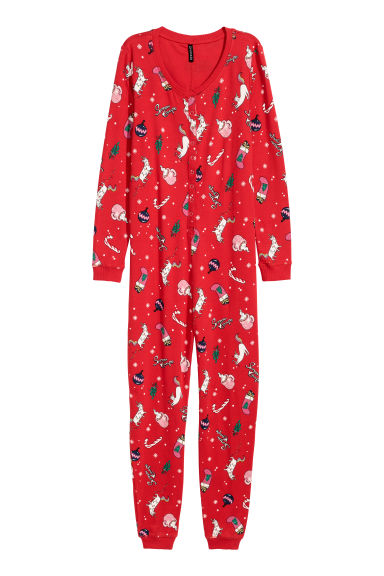 Printed jersey all-in-one suit - Red/Christmas - Ladies | H&M