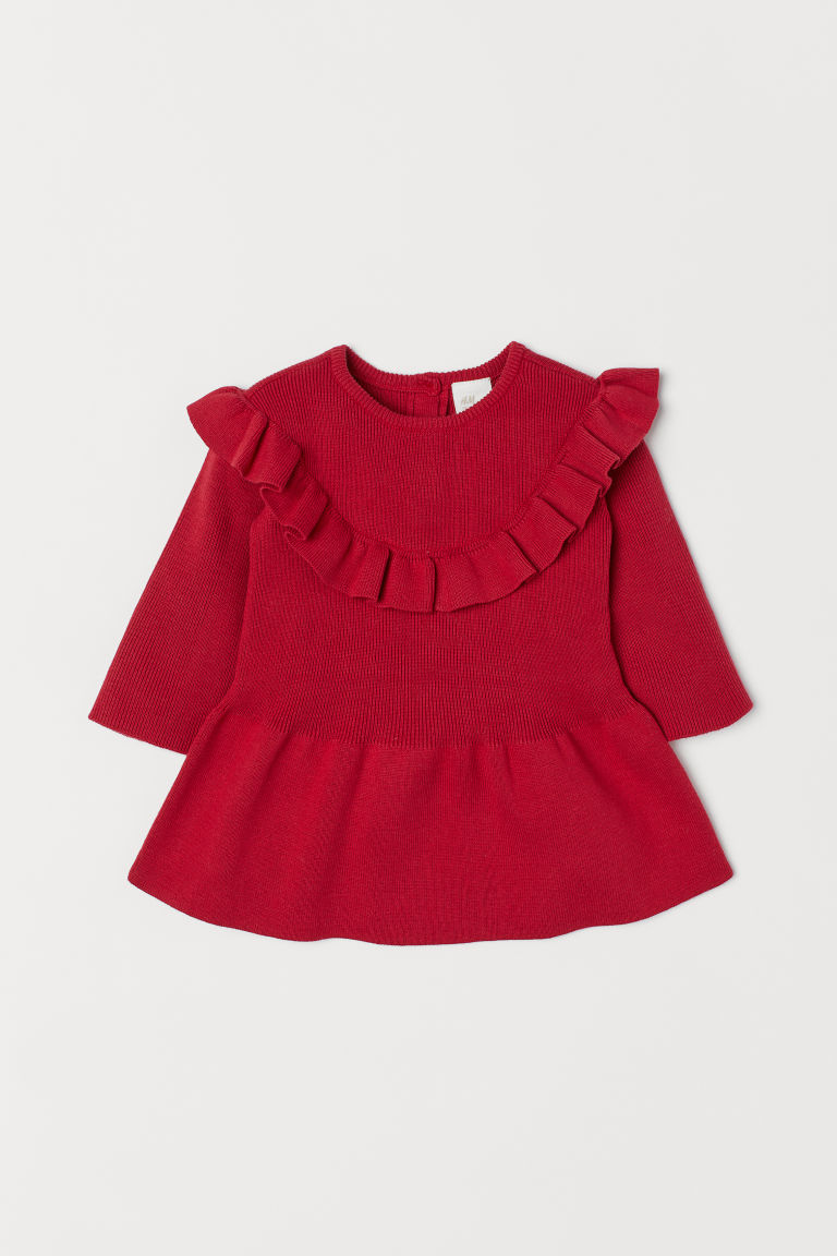 Fine-knit Flounced Dress - Red - Kids | H&M CA