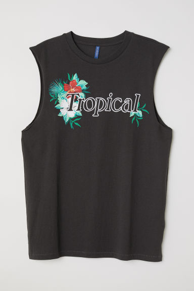 Vest top with a motif - Black/Tropical - Men | H&M CN