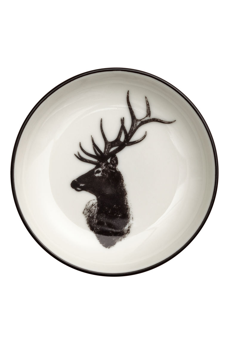 Small printed porcelain plate - White/Deer - Home All | H&M GB