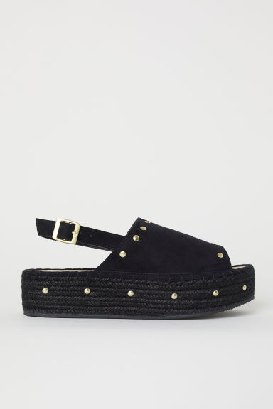 Platform sandals - Black/Studs - Ladies | H&M CN