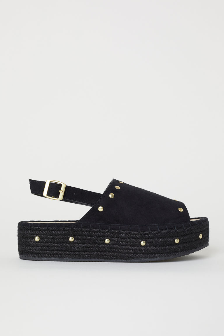 Platform sandals - Black/Studs - Ladies | H&M