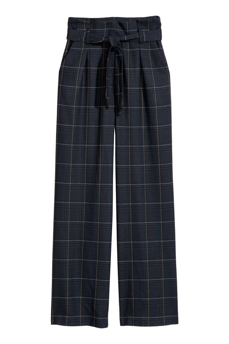 Paper bag trousers - Dark blue/Checked - Ladies | H&M CN