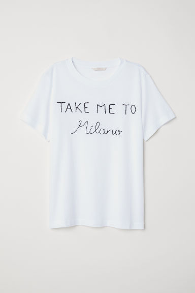 T-shirt with embroidery - White/Take Me To Milano - Ladies | H&M CN