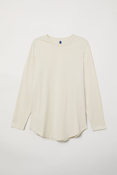 Long-sleeved jersey top - Light beige - Men | H&M