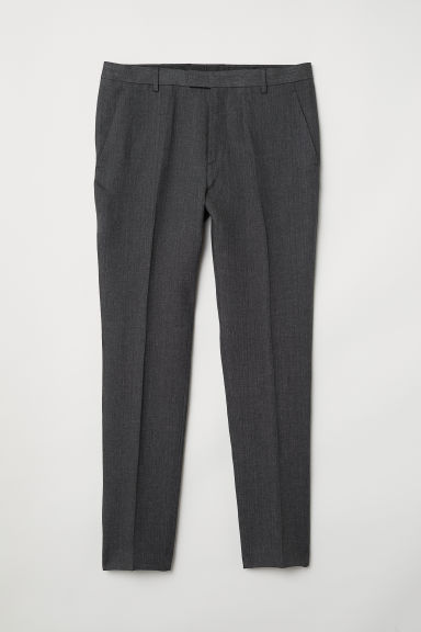 Linen suit trousers Slim fit - Dark grey marl - Men | H&M