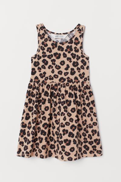 94814ba3931f43 Mouwloze tricot jurk - Beige luipaard - KINDEREN