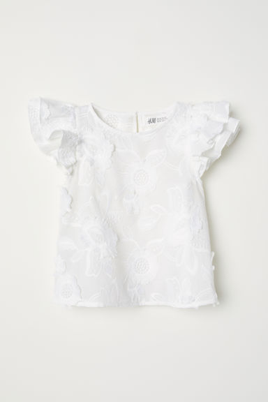 Embroidered top - White - Kids | H&M CN