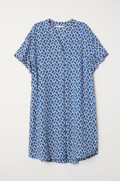 V-neck dress - White/Blue patterned - Ladies | H&M