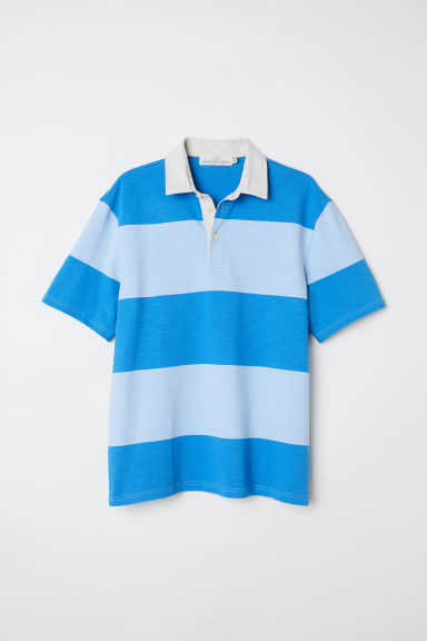 Short-sleeved rugby shirt - Blue/Striped -  | H&M CN