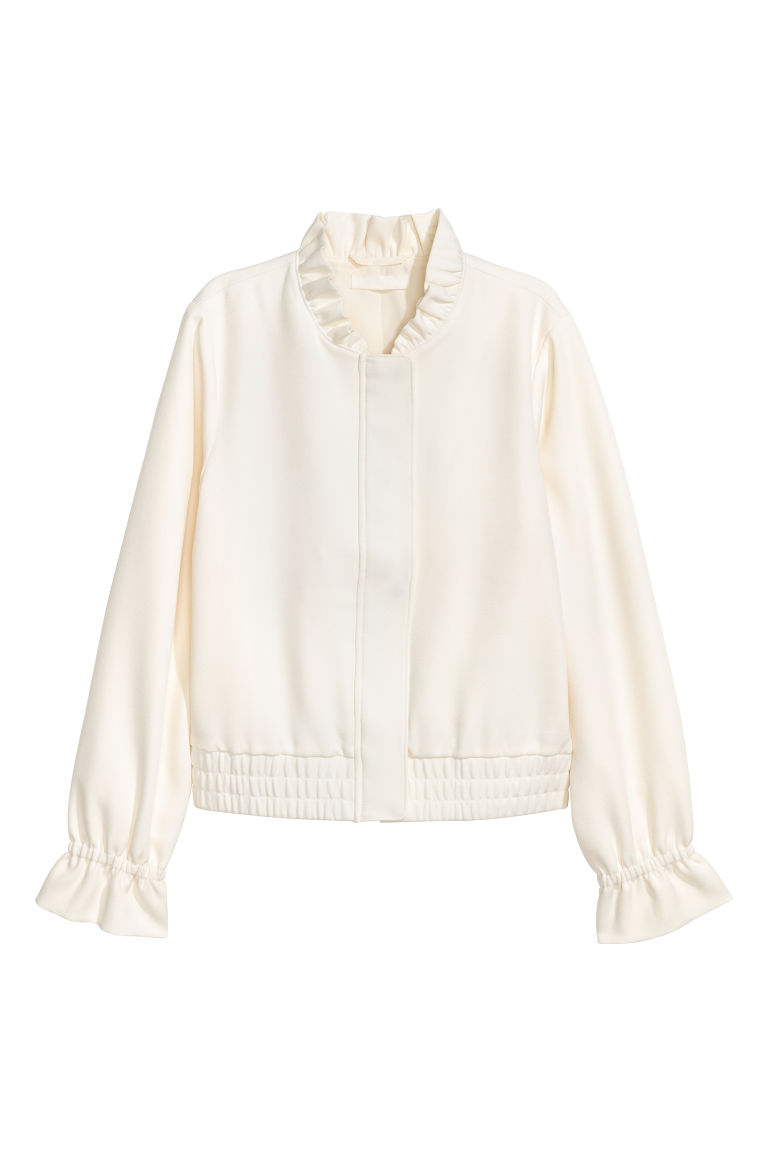 Jacket with a frilled collar - White - Ladies | H&M