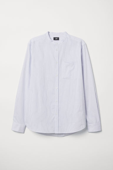 Grandad shirt Regular Fit - White/Blue striped - Men | H&M GB