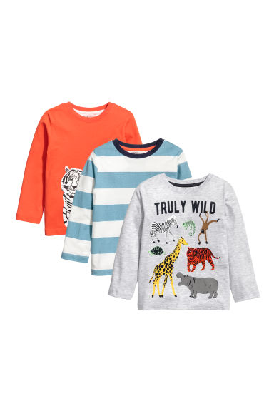 3-pack jersey tops - Light grey/Animals -  | H&M