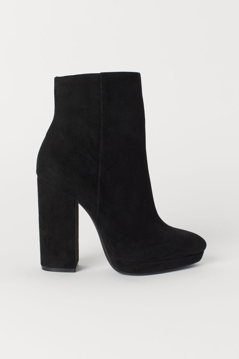 Platform ankle boots - Black/Imitation suede - Ladies | H&M CN