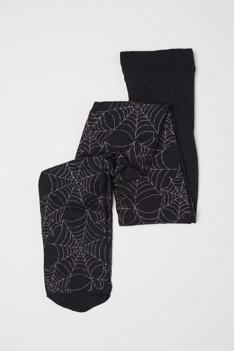 Thin tights - Black/Cobweb - Kids | H&M