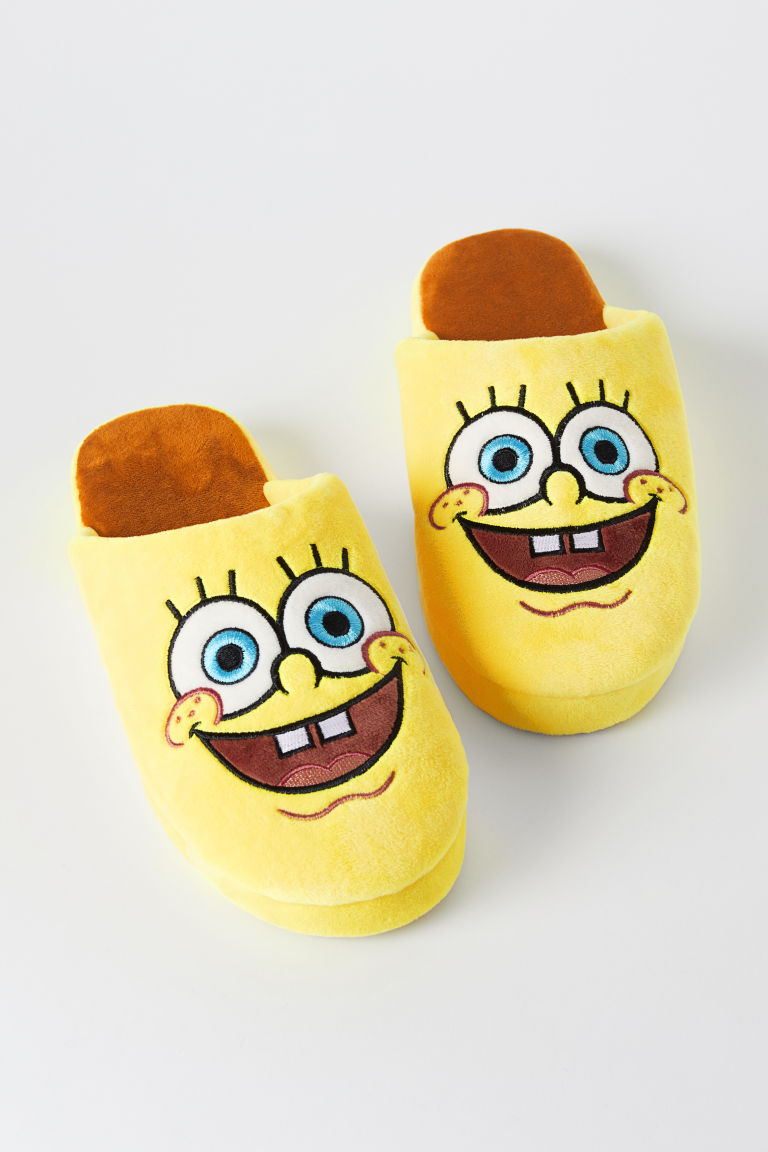 Velour slippers - Yellow/SpongeBob - Men | H&M CN