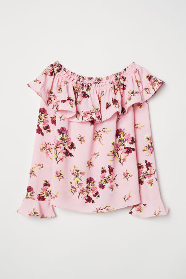 Off-the-shoulder blouse - Light pink/Floral -  | H&M