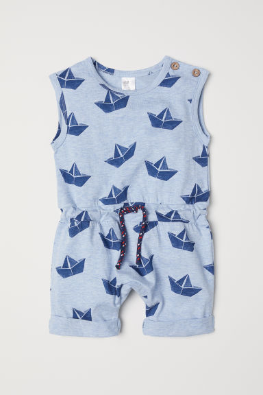 Sleeveless jersey romper - Light blue/Patterned - Kids | H&M CN