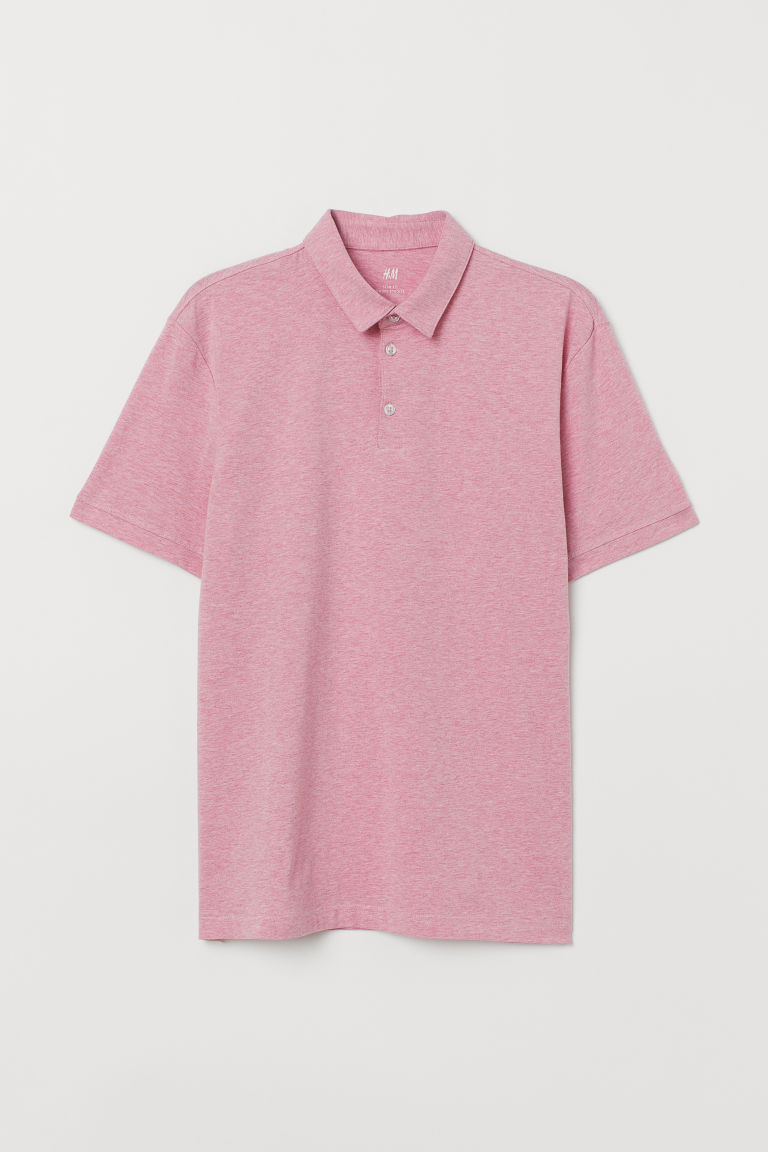 Jersey polo shirt Slim Fit - Pink marl - Men | H&M IE