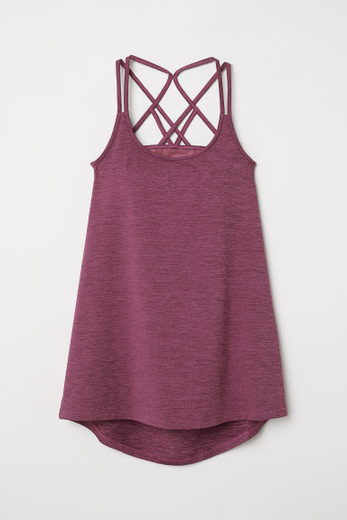 Sports top with sports bra - Dark pink - Ladies | H&M CN