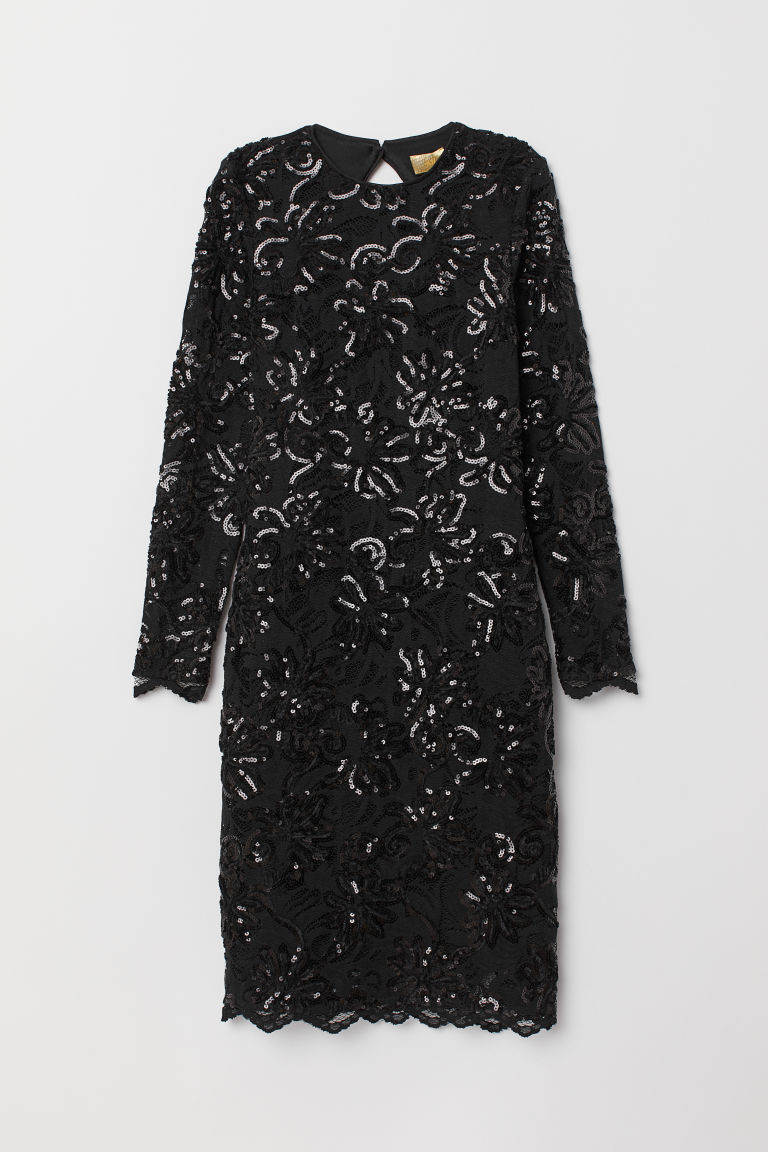 Fitted sequined dress - Black - Ladies | H&M
