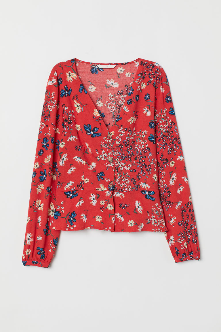 V-neck blouse - Red/Floral - Ladies | H&M IE