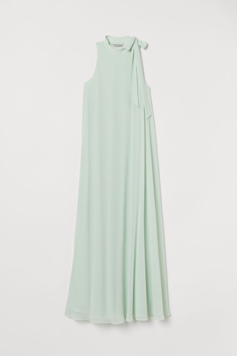 Long dress with a tie collar - Mint green - Ladies | H&M