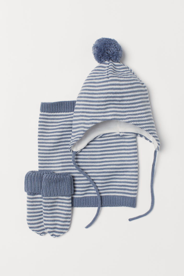 3-piece set - Dusky blue/White striped - Kids | H&M CN