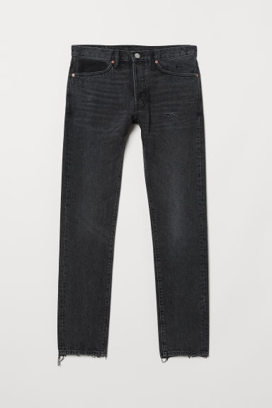 Slim Straight Jeans - Zwart/trashed - HEREN | H&M BE