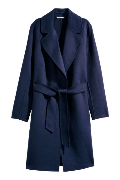 Felted wool-blend coat - Dark blue - Ladies | H&M
