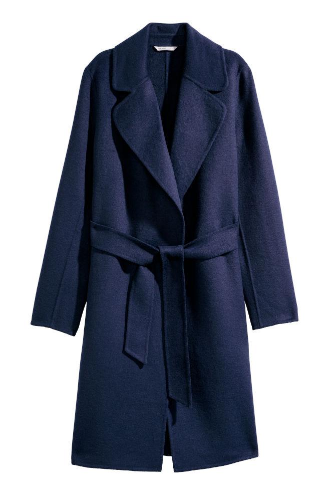 033f461d7e53f Cappotto in feltro misto lana - Blu scuro - DONNA