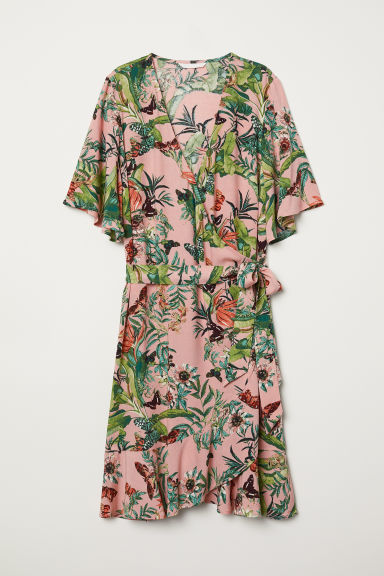 Wrap dress with a flounce - Coral pink/Patterned - Ladies | H&M