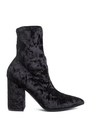 Crushed velvet ankle boots - Black -  | H&M CN