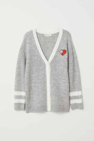 Cardigan - Light grey marl/Heart - Kids | H&M