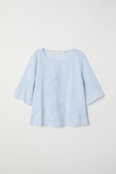 Embroidered top - Light blue - Ladies | H&M CN