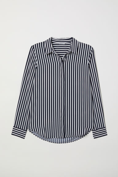 Long-sleeved Blouse - Dark blue/striped - Ladies | H&M CA